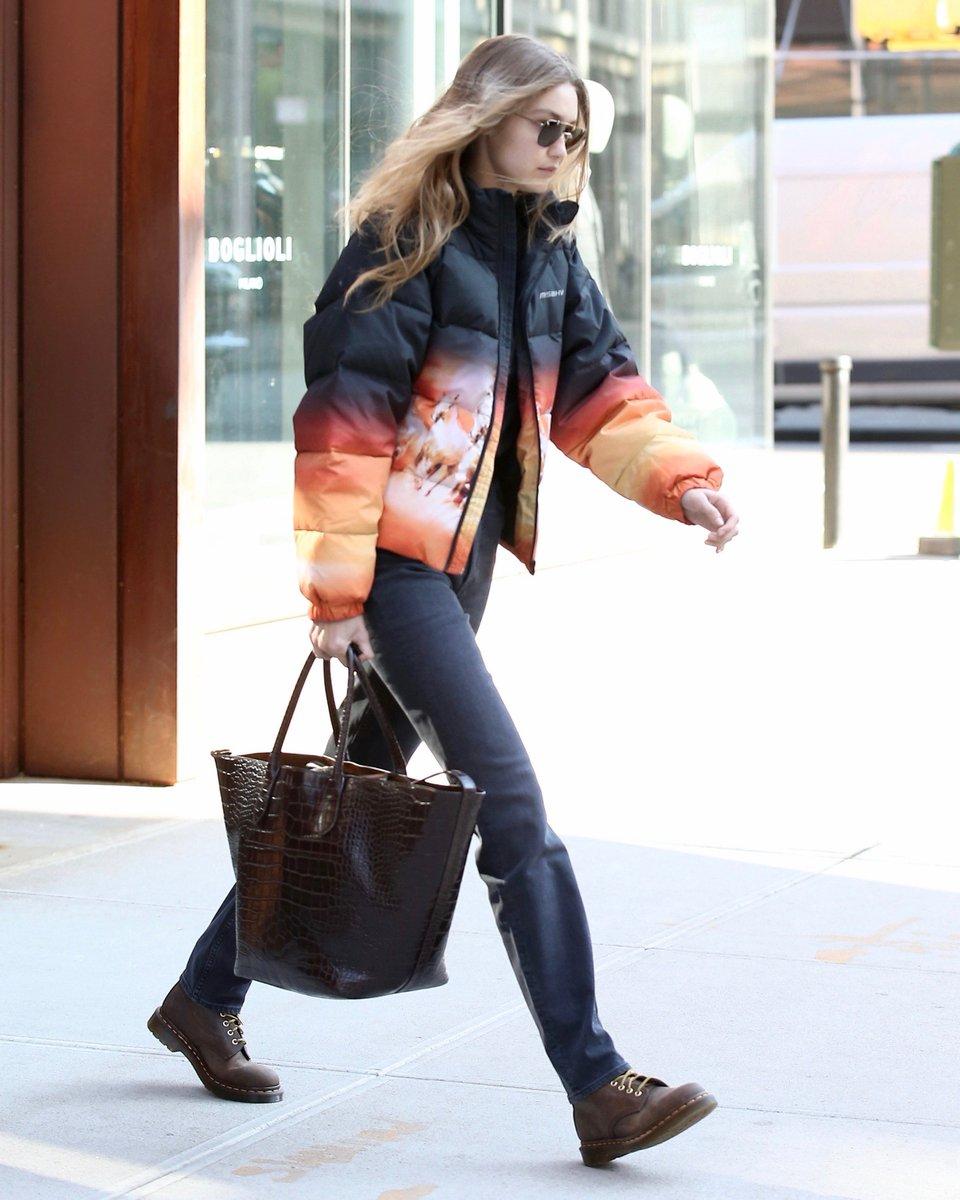 .@GigiHadid in New York City carrying her Polo Ralph Lauren Bellport Bag