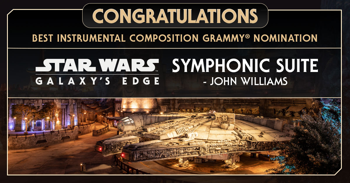 Congratulations to composer John Williams on his #Grammys nomination for Best Instrumental Composition! Williams is nominated for his work on the Star Wars: #GalaxysEdge Symphonic Suite.