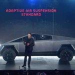 Image for the Tweet beginning: Tesla #Cybertruck debuts in weirdest