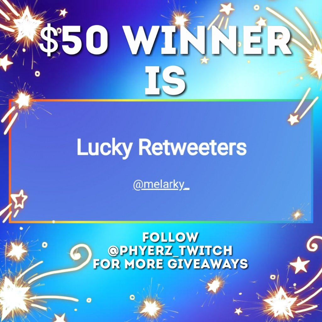 CONGRATULATIONS @melarky_   You won $50!   Get this tweet 100+ retweets in 24 hours I'll #giveaway $100!   Follow for more giveaways!  <br>http://pic.twitter.com/GULTvC3EGc