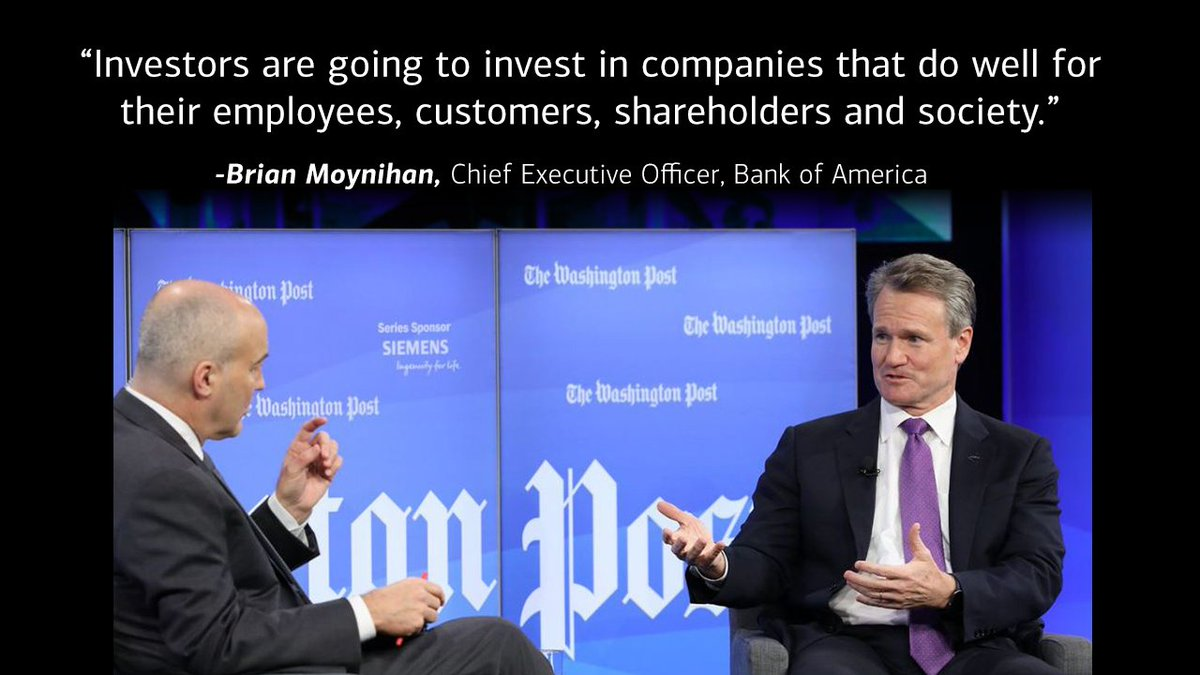 CEO Brian Moynihan on @postlive talks with @mrwduffy about our corporate purpose and why we moved to $20/hr minimum wage for employees ahead of schedule. #postlive