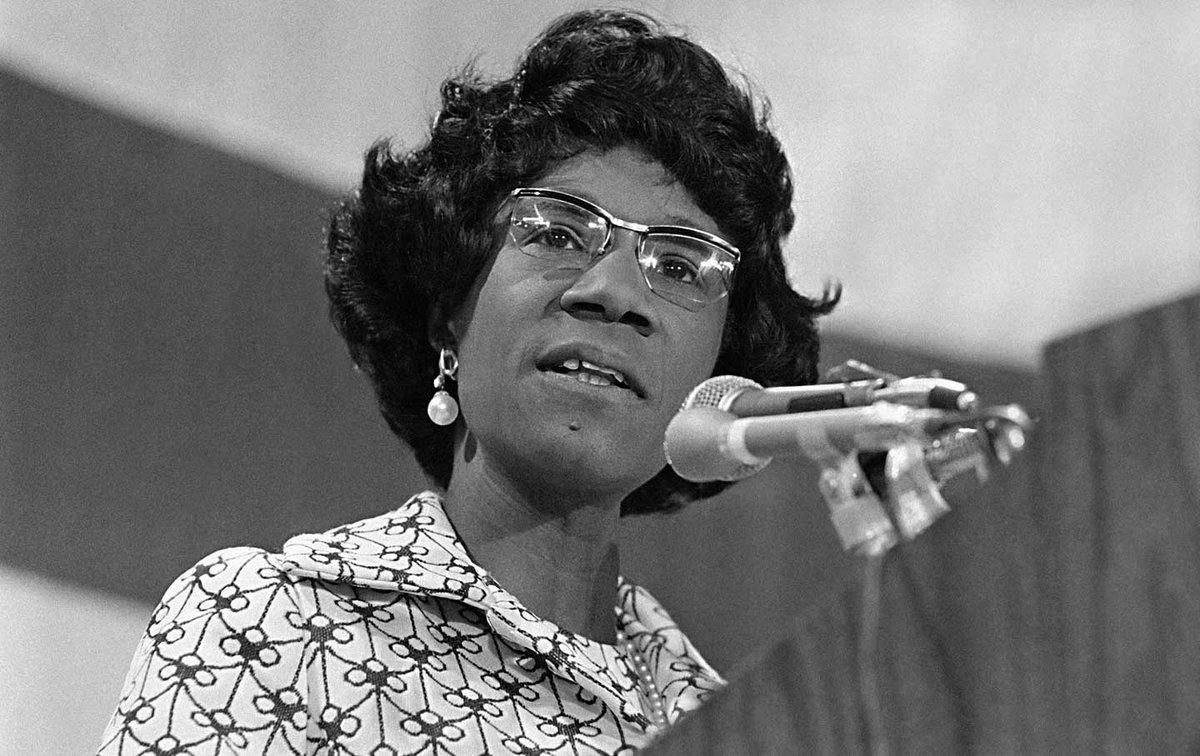 "Born on this day in 1924, politician, educator, author, and the first black woman elected to the United States Congress Shirley Chisholm.""Tremendous amounts of talent are lost to our society just because that talent wears a skirt."""
