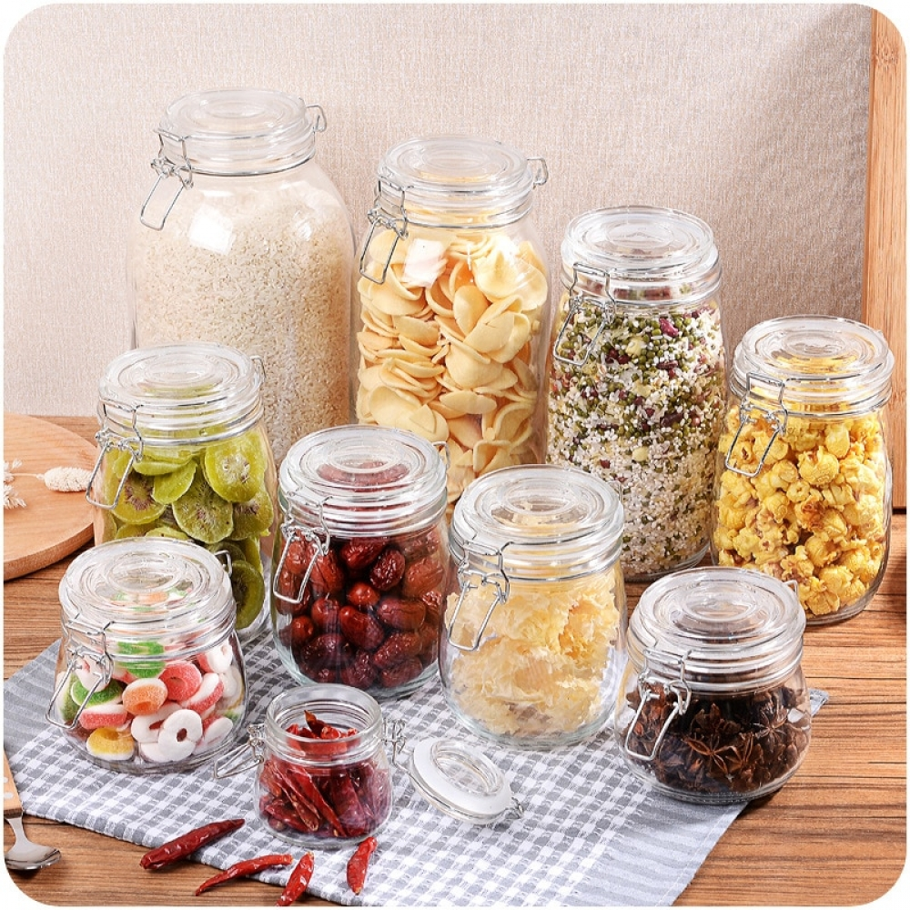 #healthy #style Glass Storage Kitchen Jars with Clip Lid