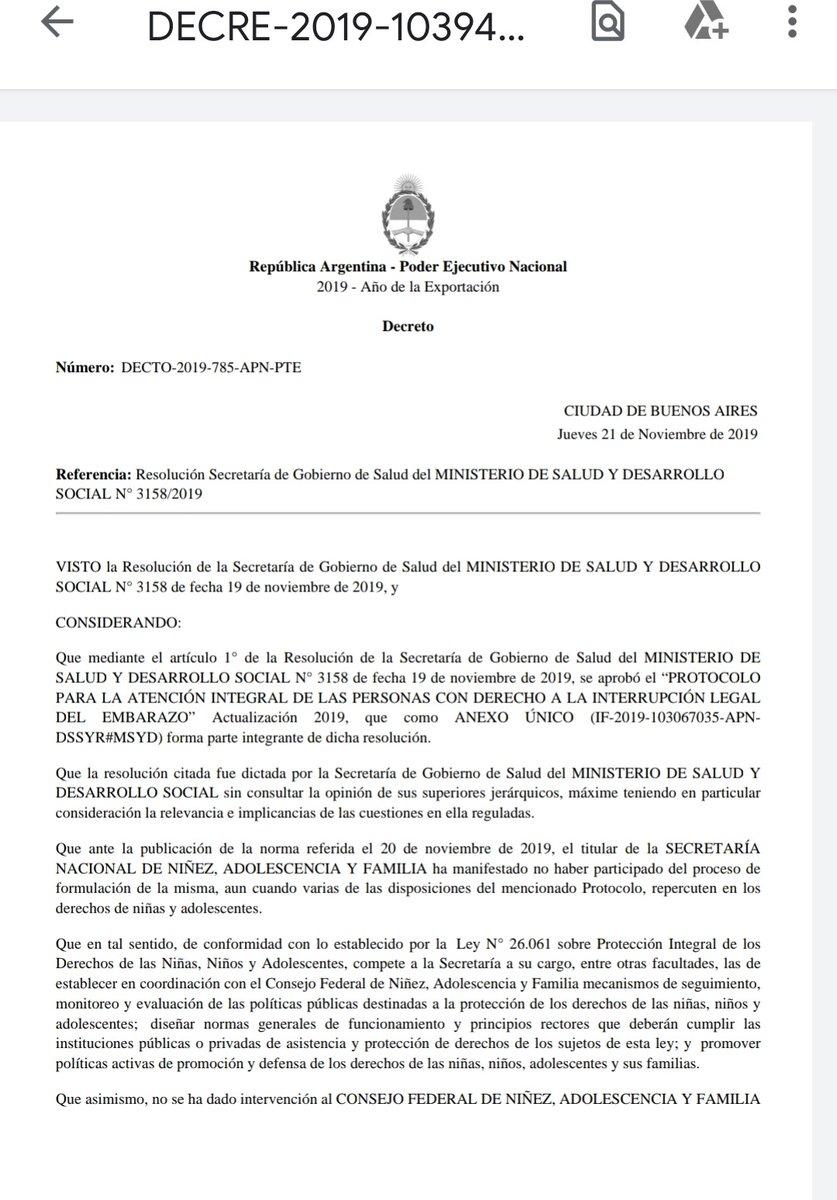 Siamo fuori. Está oficialmente revocada la resolución del Protocolo ILE. Nos vemos el 25/11 en Plaza de Mayo. https://t.co/KHXhl91WV7