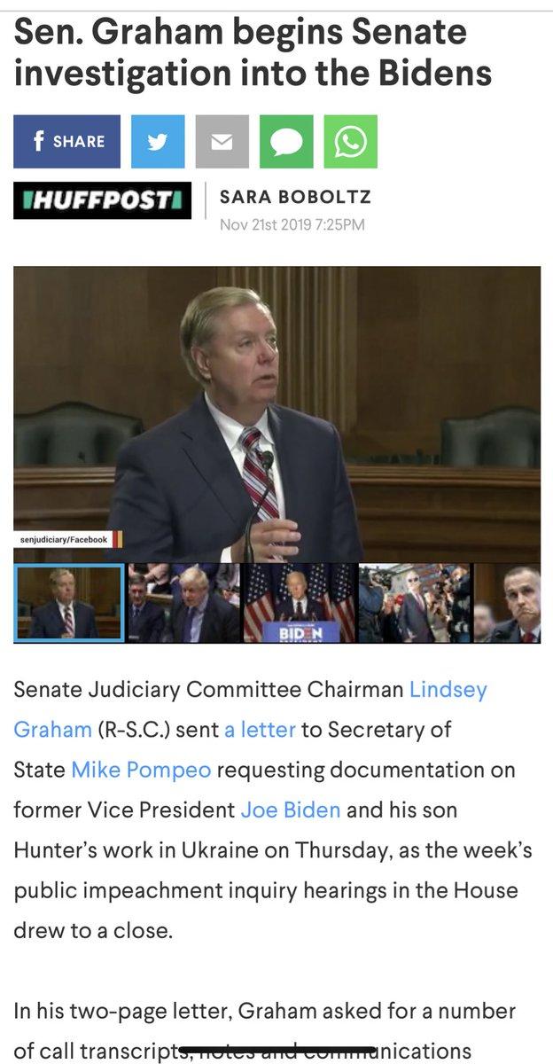 The @LindseyGrahamSC in the clip talking nicely about VP Biden is the Lindsey Graham of yesterYear.  The Lindsey Graham of  Today2019 doesn't have a conscience.  https://www. aol.com/article/news/2 019/11/21/sen-graham-begins-senate-investigation-into-the-bidens/23865830/  …   https:// twitter.com/LGsConscience/ status/1197692999976804353  … <br>http://pic.twitter.com/OFkS3Mm8te