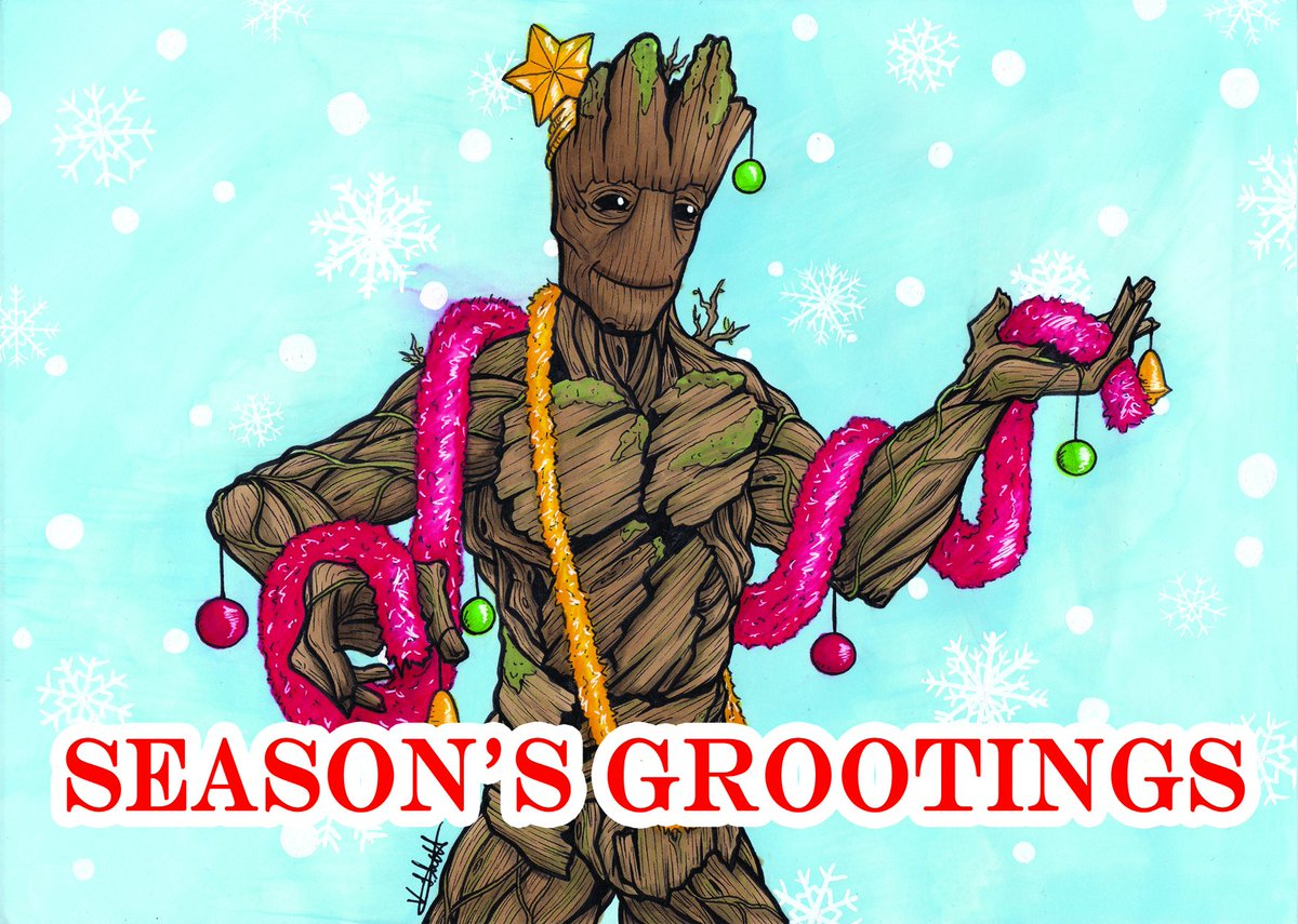 If you're looking for a pun-tastic greetings card for this holiday then this Season's Grootings card is the one for you! (I'm a sucker for a good pun)  Get it with 10% off until Wednesday with code: GREEN10 https://t.co/v0kHV8uglP  #SupportIndependentArt #Groot #GreenWednesday https://t.co/W0mZ0mUdPT