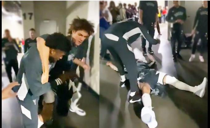 【影片】抱摔+鎖喉!公鹿更衣室爆發大型「內訌」,現場激烈難以控制!