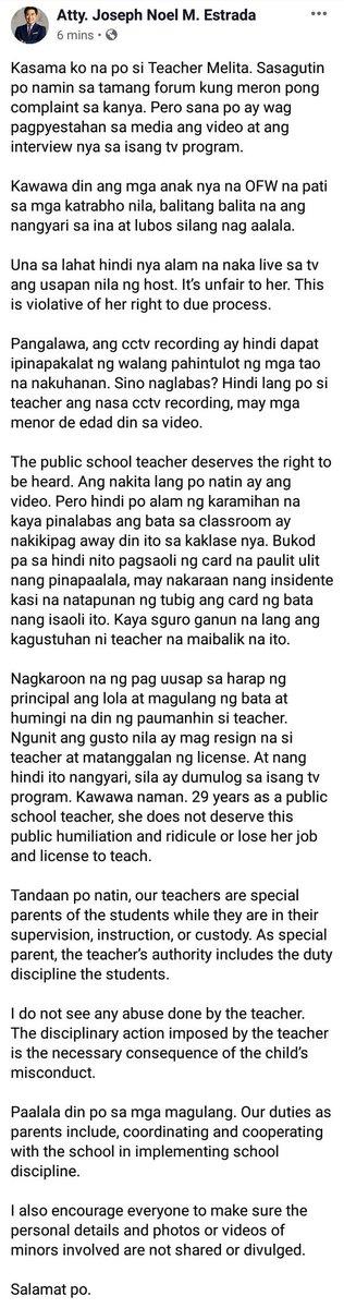 Thank you Atty. Joseph Noel M. Estrada for helping Teacher Melita, GOD BLESS YOU.... #Tulfo
