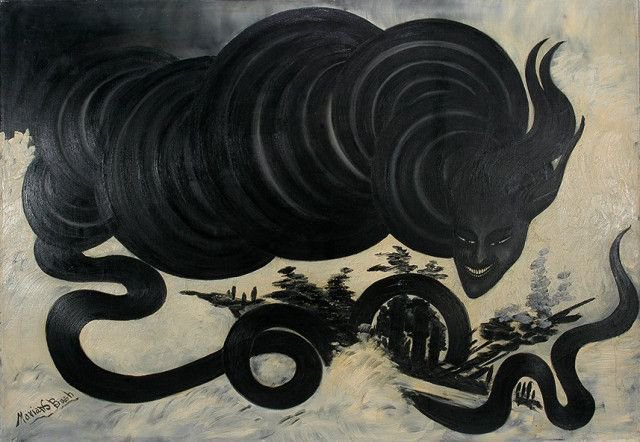 Tornado, 1938 by US outsider artist Marian Spore Bush, self-taught painter who believed she communicated with dead artists #womensart