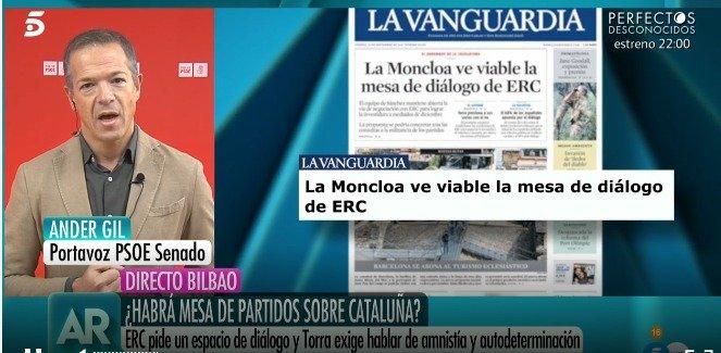 📺 @Ander_Gil en @elprogramadear: ERC sabe que las dos únicas fuerzas políticas que pueden dar respuesta al problema de convivencia en #Cataluña con diálogo dentro de la Ley y la Constitución son #PSOE y Podemos. Un dialogo efectivo y en igualdad de condiciones. #AR22N