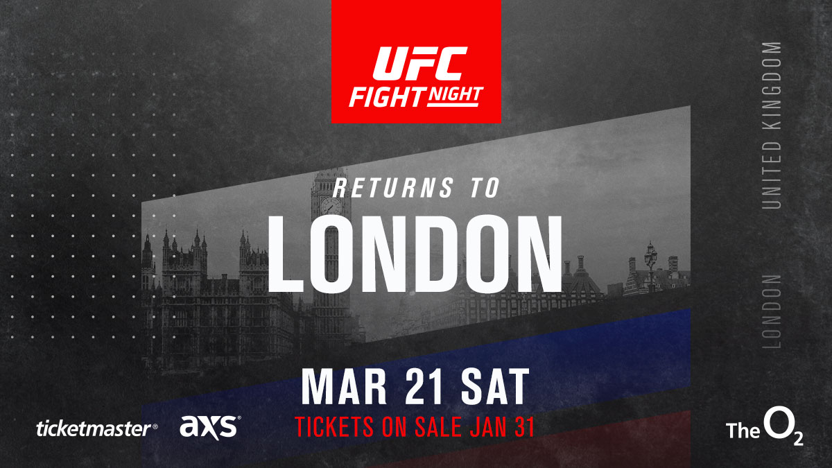 BREAKING: We are back at #UFCLondon on 21 March 2020! 🇬🇧  Register now to get your tickets early 🎟️➡️ https://www.ufc.com/london