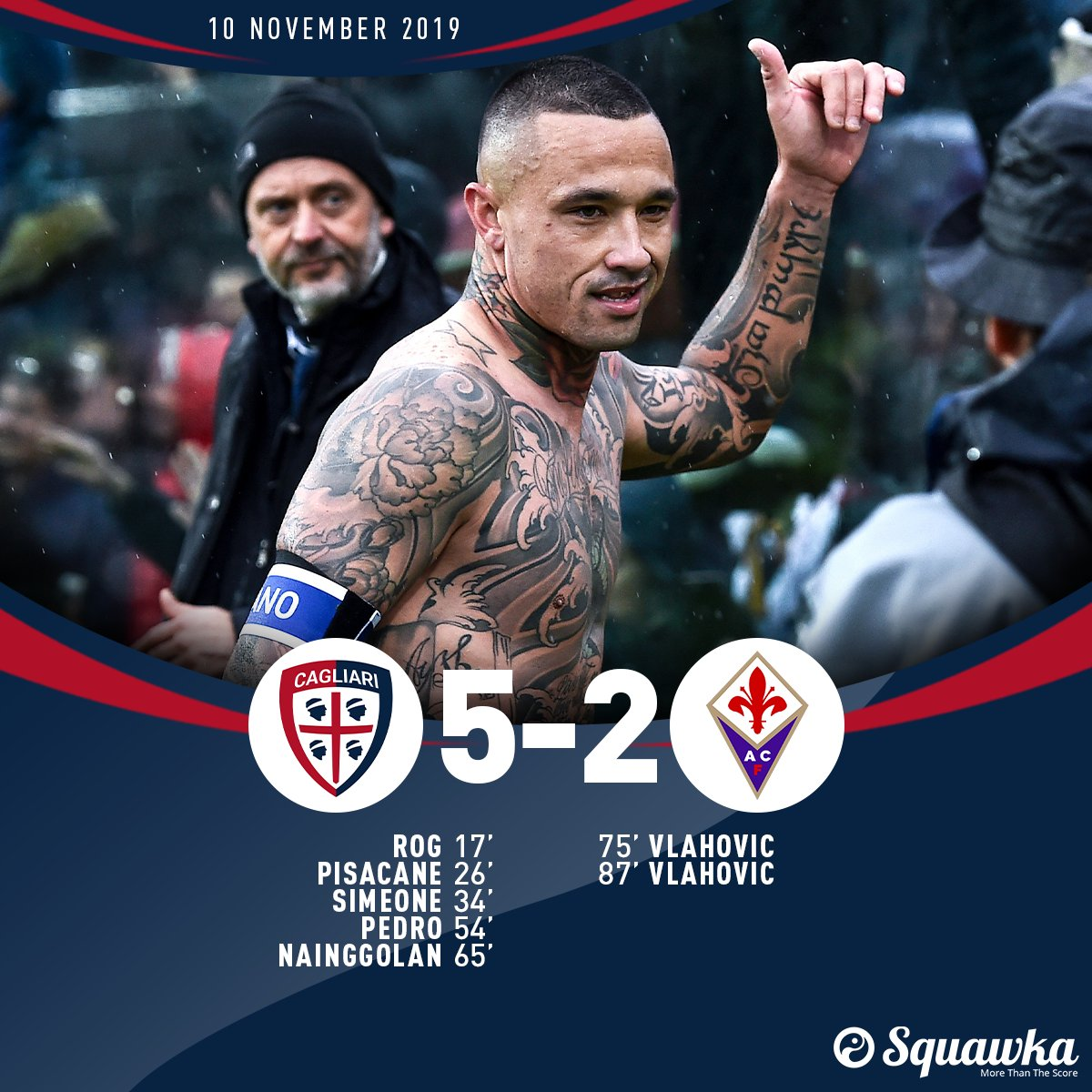 17: Cagliari 1-0 Fiorentina 26: Cagliari 2-0 Fiorentina 34: Cagliari 3-0 Fiorentina 54: Cagliari 4-0 Fiorentina 65: Cagliari 5-0 Fiorentina 75: Cagliari 5-1 Fiorentina 87: Cagliari 5-2 Fiorentina More superb Serie A football. The Islanders move up to third.