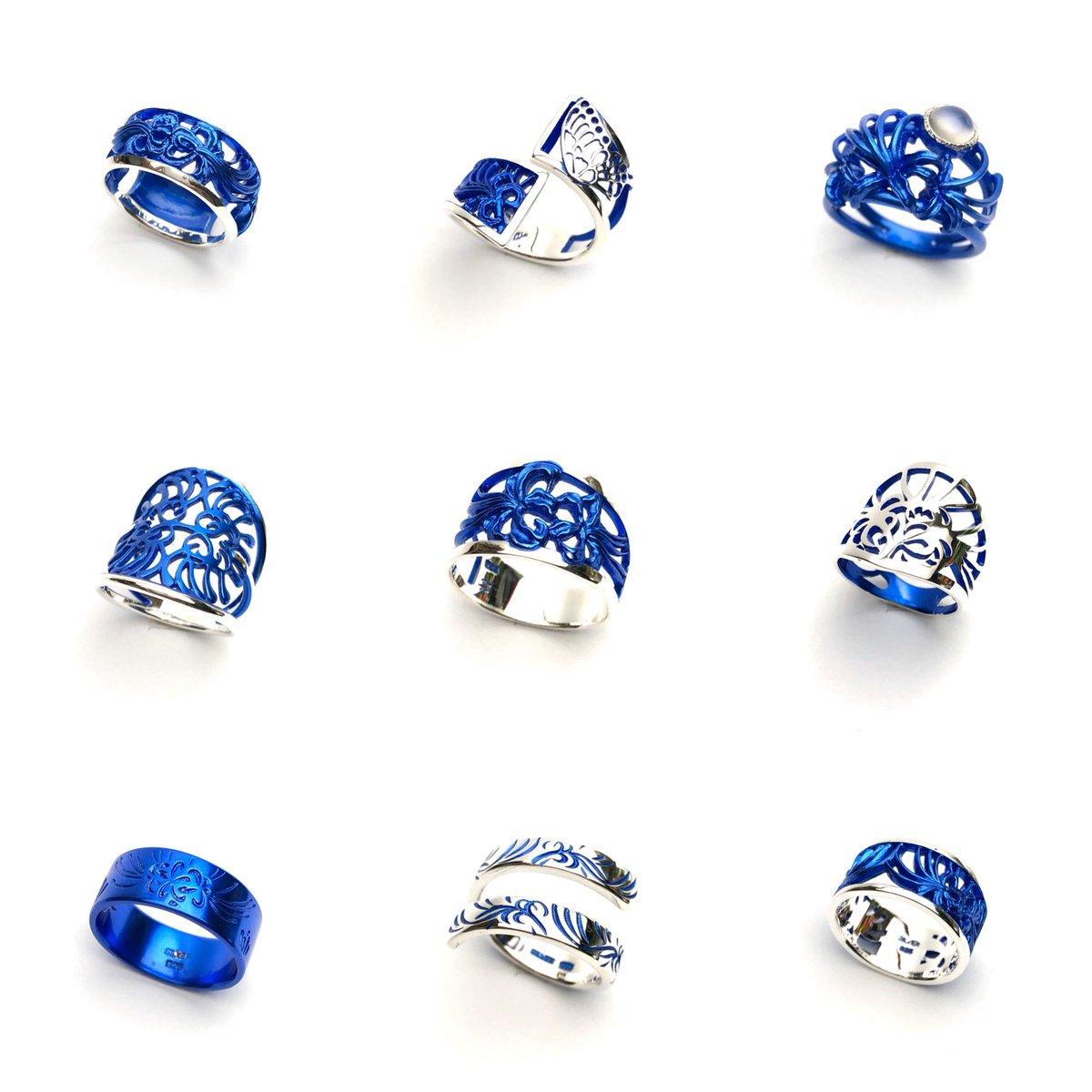 青い彼岸花は、これ! 指輪9種、立体SとMサイズ、イヤーカフをそれぞれちょっとずつ用意しました。 まだもうちょっと増えます!  #デザフェス50