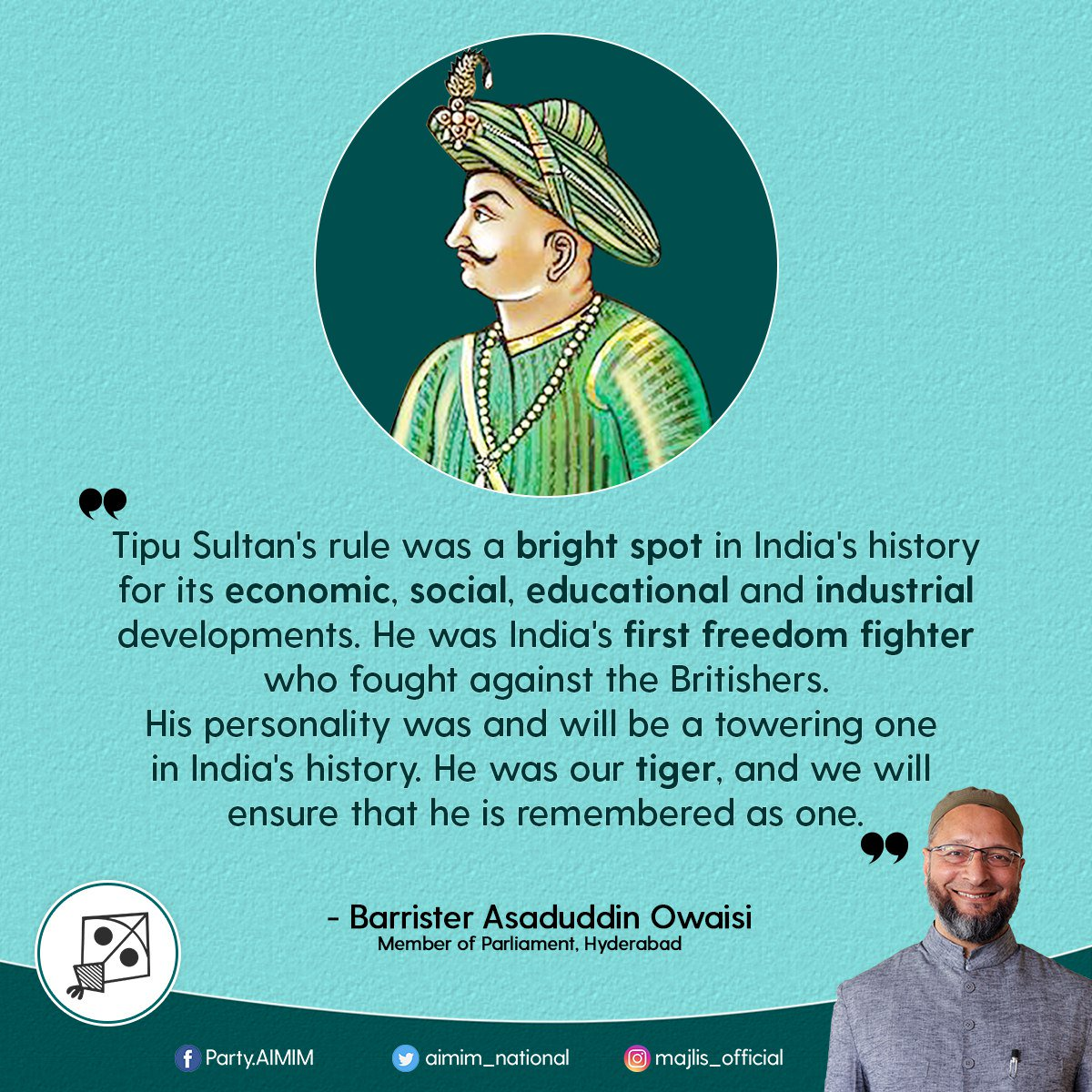 .@aimim_national honours Shaheed Tipu Sultan - Sher-e-Mysore, the first freedom fighter of India, on his birth anniversary. #TipuJayanti