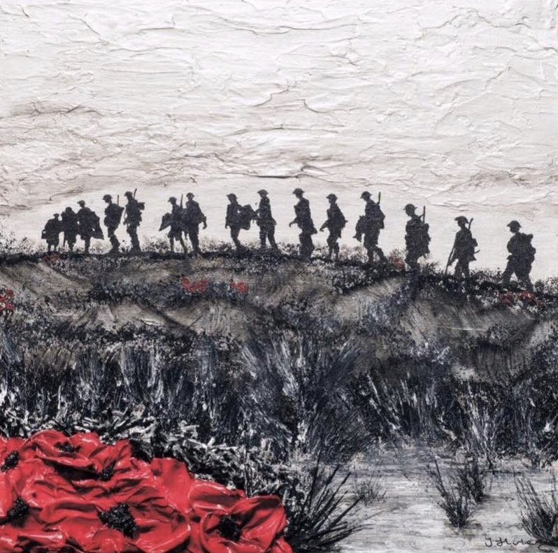 They gave their tomorrow for our today...  #LestWeForget #RemembranceSunday  (Print/Image: 'Where The Tommies Go, The Poppies Grow' - Jacqueline Hurley).
