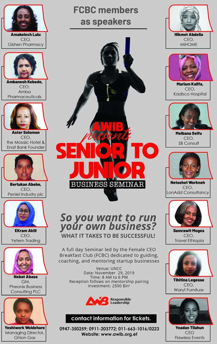 Senior to Junior Business Seminar  AWiB's very own Female CEO Breakfast Club (FCBC) as Speakers.....   @LuluAmakelech  @BertukanAbebe  @ekramakill  @nebatabbas  @netsehet  @SAMRAWITMOGES  @WARYTFURNITURE  @FlawlessinET