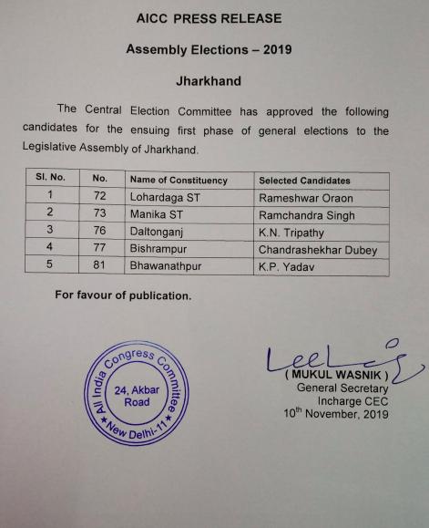 झारखंड विधानसभा चुनाव: कांग्रेस और RJD ने जारी की 5-5 उम्मीदवारों की पहली लिस्ट