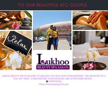 @KFCSA Lukhoo Beauty Spa would love to celebrate love with the couple by offering them a luxurious Spa treat #KFCWEDDING <br>http://pic.twitter.com/jENJLs1yph