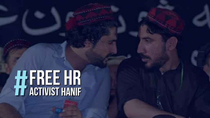 Hanif pashteen a human rights activist was doing peaceful activism to secure peace and prosperity for his people, is jailed in fake cases to only stop his voice. Its completely fascism. State institutions will responsible if any thing happen to Hanif pashteen #FreeHRActivistHanif <br>http://pic.twitter.com/hUXlwsFGNJ