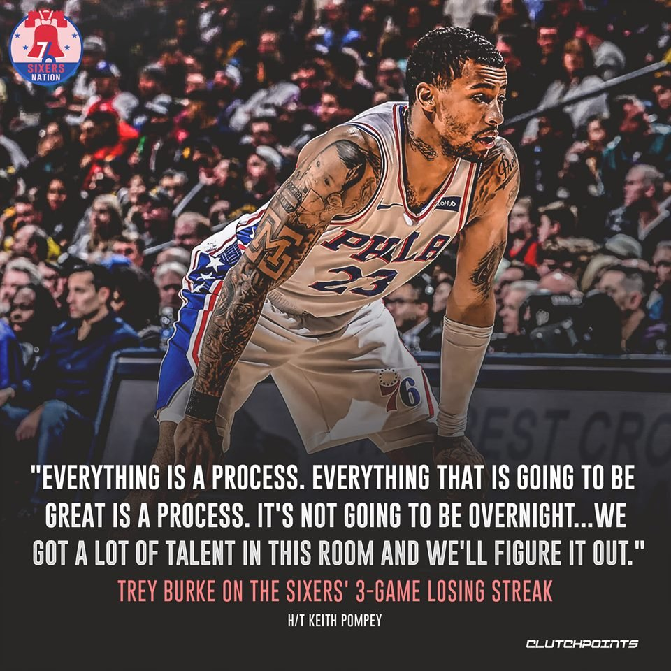 Trey Burke ain't too worried about our current losing streak. 👀👊  #PhilaUnite #Sixers