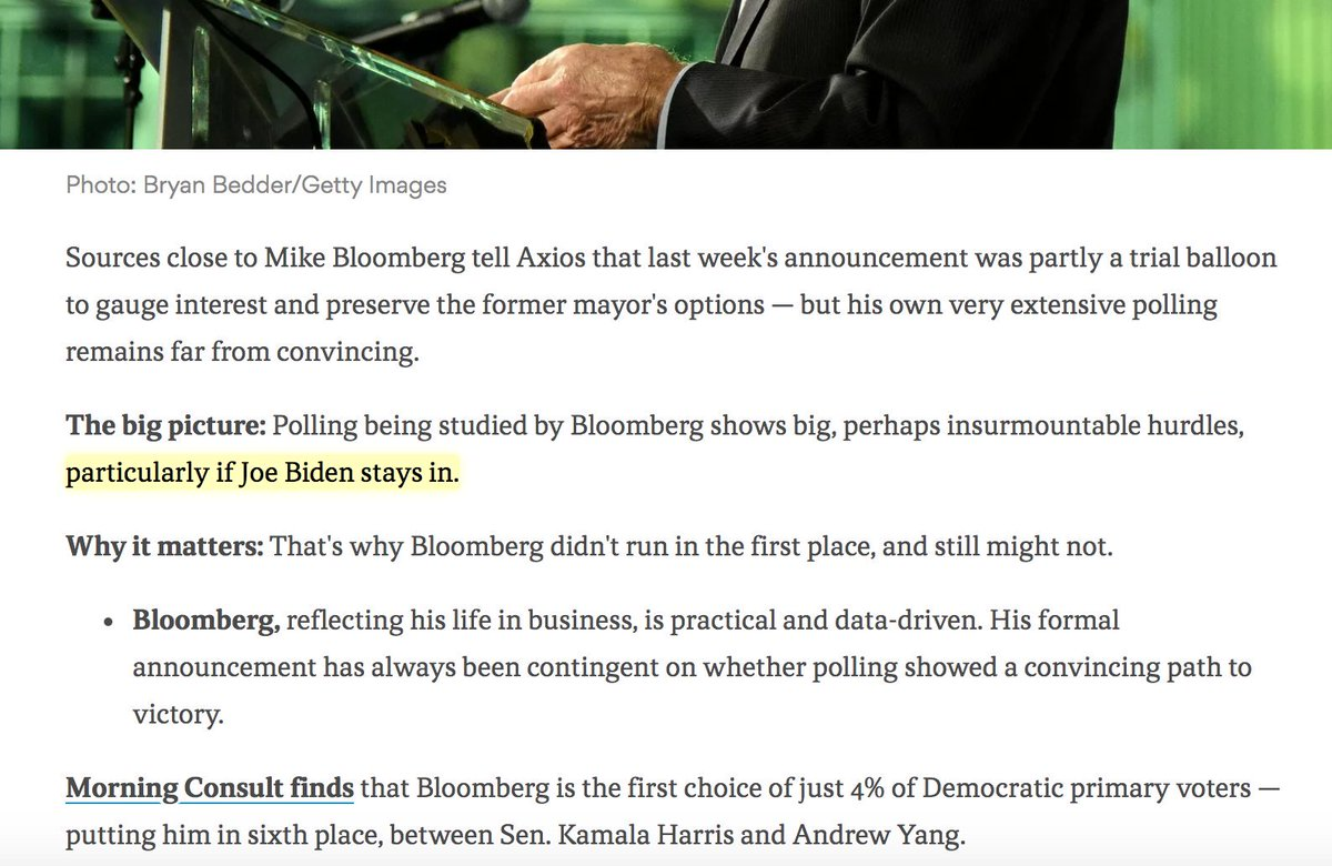 """Good (if unsurprising) reporting here that Bloomberg's announcement may just have been a trial balloon, but the phase """"particularly if Joe Biden stays in"""" is kind of nutso.   He's leading in almost every national poll and has for months!"""