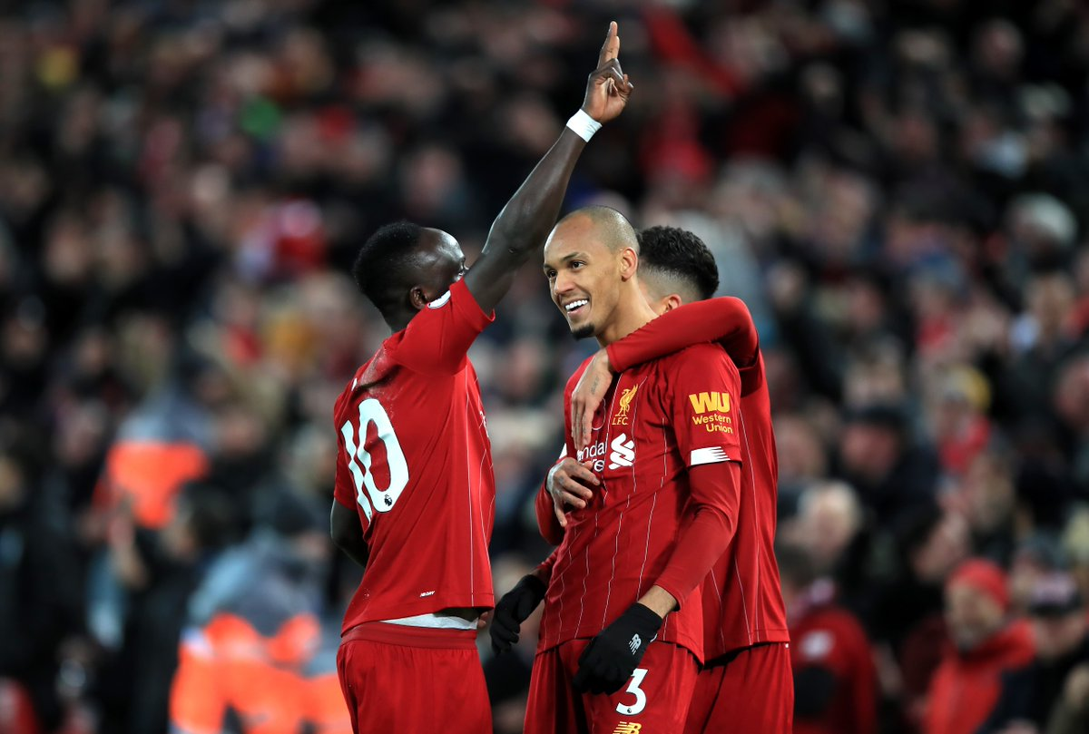Liverpool 2-0 Man City HT: ⚽️ Fabinho ⚽️ Salah Early goals hand Reds a two-goal lead at the break at Anfield.