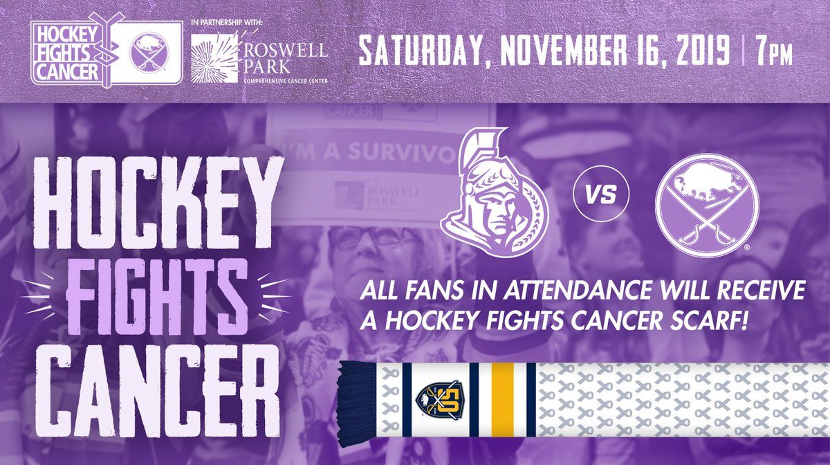All fans in attendance at our Hockey Fights Cancer game will receive a scarf! Get your tickets for Nov. 16: bufsabres.co/hfctw