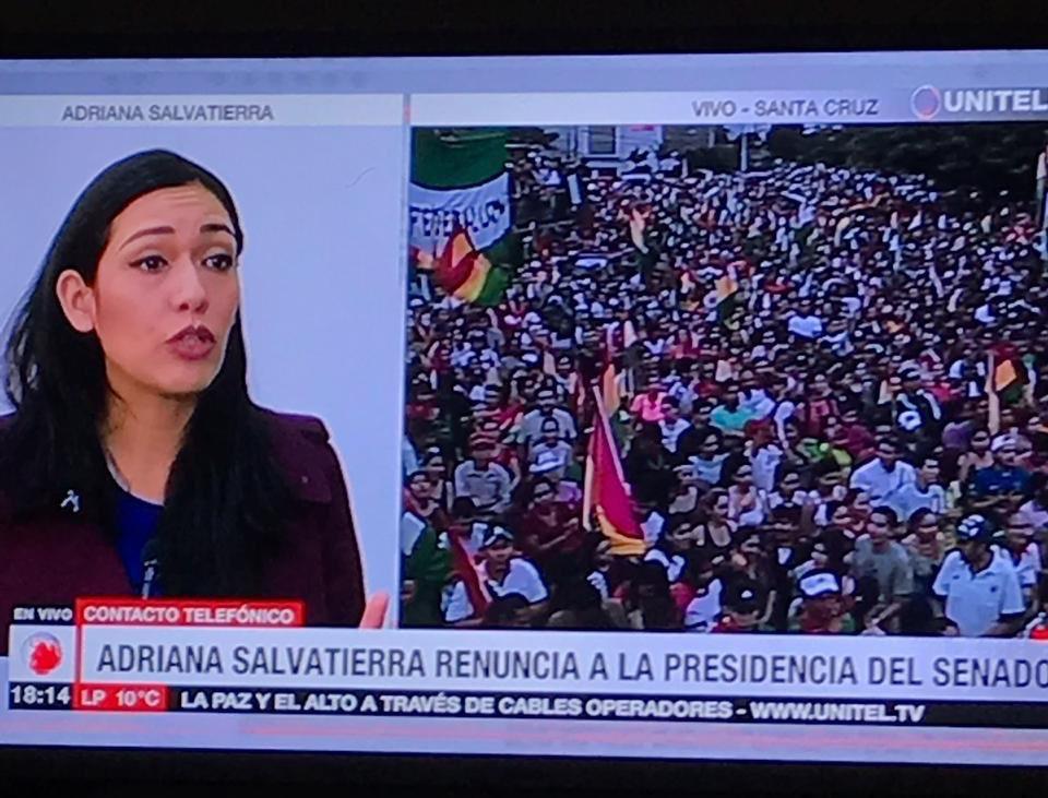 Adriana Salvatierra resigns as President of the Senate of Bolivia. #Lastminute #BoliviaLibre #BoliviaResiste #EvoDictador #EvoRenunciaYa <br>http://pic.twitter.com/ZKLJJvYD1a