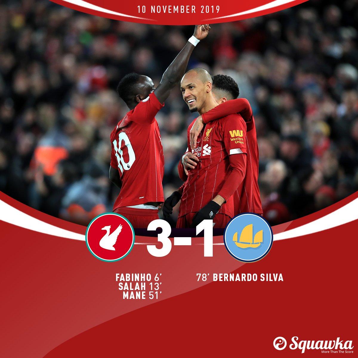 Liverpool 3-1 Man City FT: ⚽️ Fabinho ⚽️ Salah ⚽️ Mané ⚽️ Bernardo Silva Jürgen Klopps side go nine points clear of Man City with an emphatic win at Anfield.