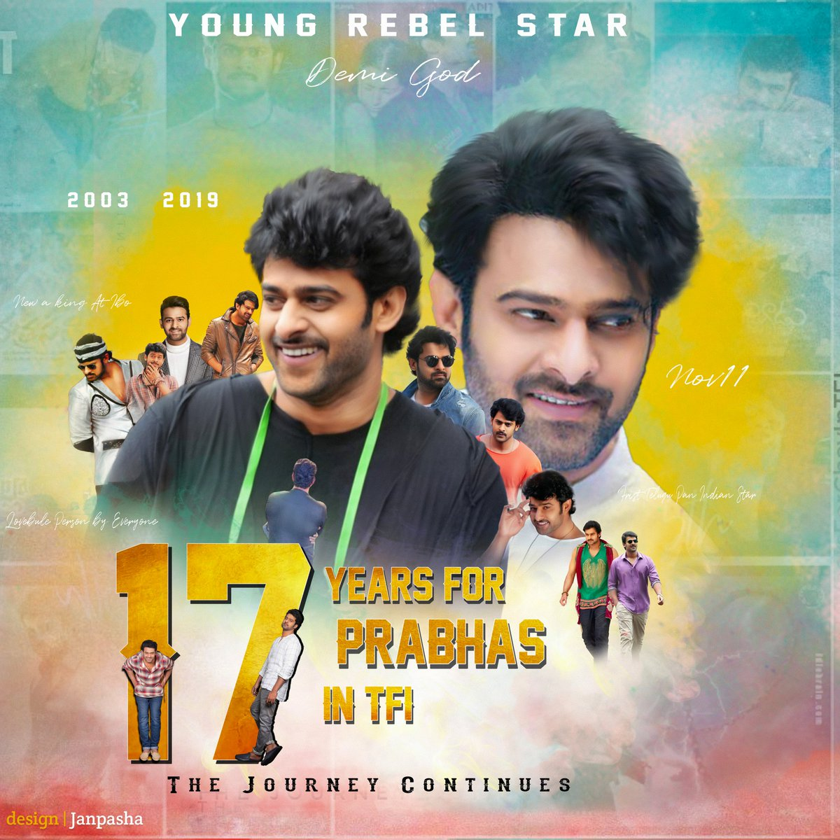 From #Eeshwar To #Saaho...  From Young Rebel Star To REBEL STAR  17 Triumphant Years of Rebel Star #Prabhas   #17TriumphantYrsOfPrabhasEra<br>http://pic.twitter.com/XnWivzCGC1