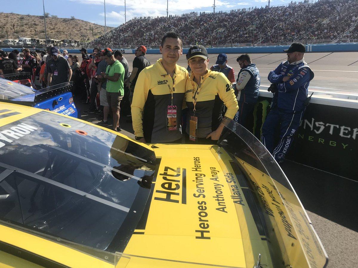 Shout out to our #HertzHeroes, Anthony Anaya and Allana Sida, for all the hero moments you deliver for our customers & our company. Today, we celebrate you on the #Hertz24 at #ISMRaceway #HeroesServingHeroes
