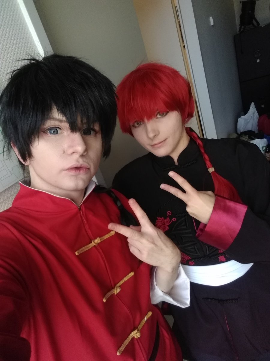 Today I was Saotome Ranma from #ranma1_2! The other Ranma is princevincent at Instagram. I styled and cut the red wig for him! I'm happy I could make him happy with the wig!  #saotomeranma #ranmasaotomepic.twitter.com/cQGoF2ICNx