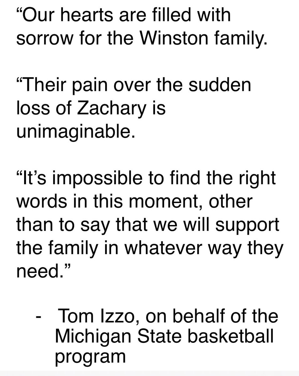 A statement from Tom Izzo on behalf of MSU basketball on the passing of Zachary Winston: