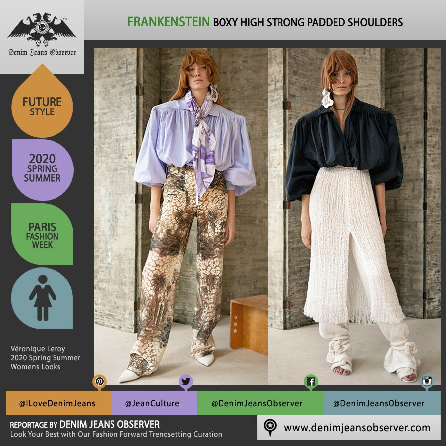 Véronique Leroy 2020 Spring Summer Womens Lookbook Presentation - Mode à Paris Fashion Week France - Moroccan Landscape House Trees Frankenstein Strong Padded High Boxy Shoulders Blouse Scarf Wide Leg Pants Cords - Fashion Forward Trendsetting Curation by Denim Jeans Observer