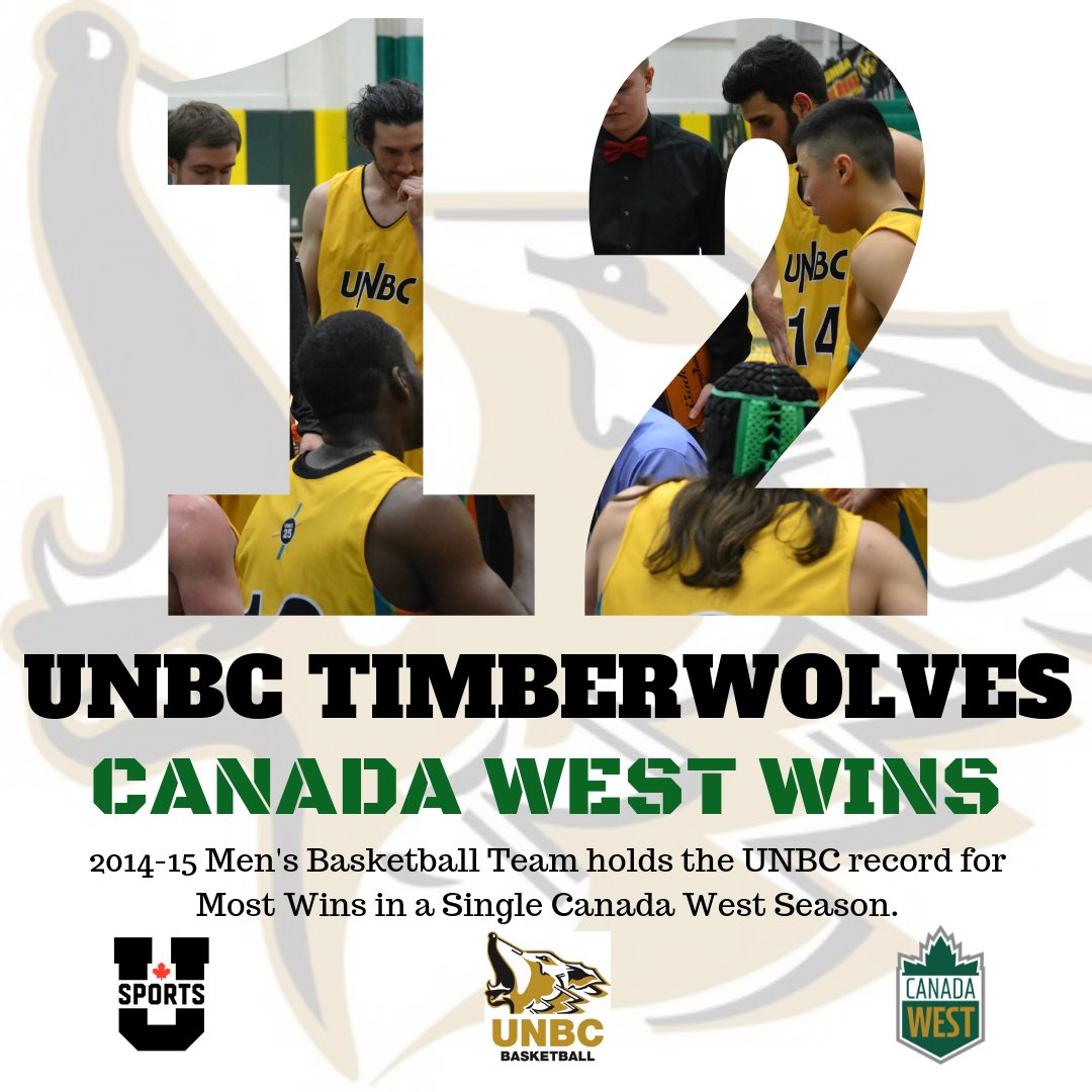 The 2014-15 UNBC Timberwolves Men's Basketball team holds the team record for most Canada West wins in a season with 12.  #unbc #unbctimberwolves #unbcbasketball  #princegeorge #canadawest #usports #alltimetimberwolves #gotwolves #runasonepic.twitter.com/kLhqySL9lr