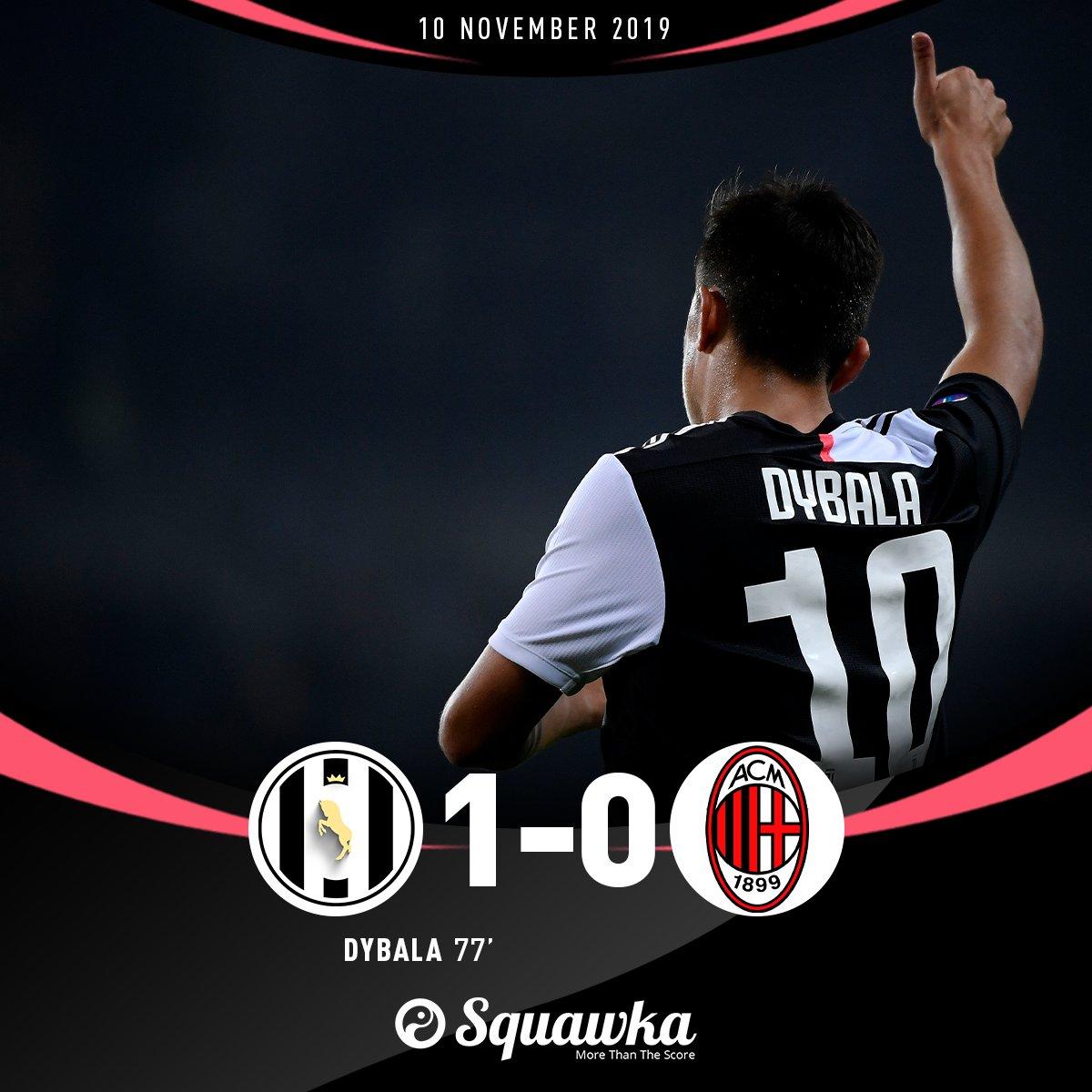 55: Paulo Dybala replaces Cristiano Ronaldo 77: Paulo Dybala scores the winner Juventus 1-0 AC Milan.