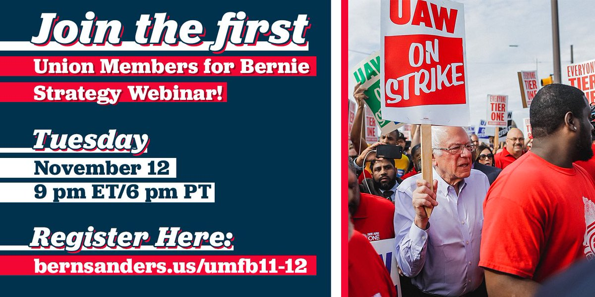 Are you a union member who supports our campaign? We are launching our national organizing program to provide union members with the tools to organize their coworkers and community. RSVP for our Union Members for Bernie strategy webinar: bernsanders.us/umfb11-12