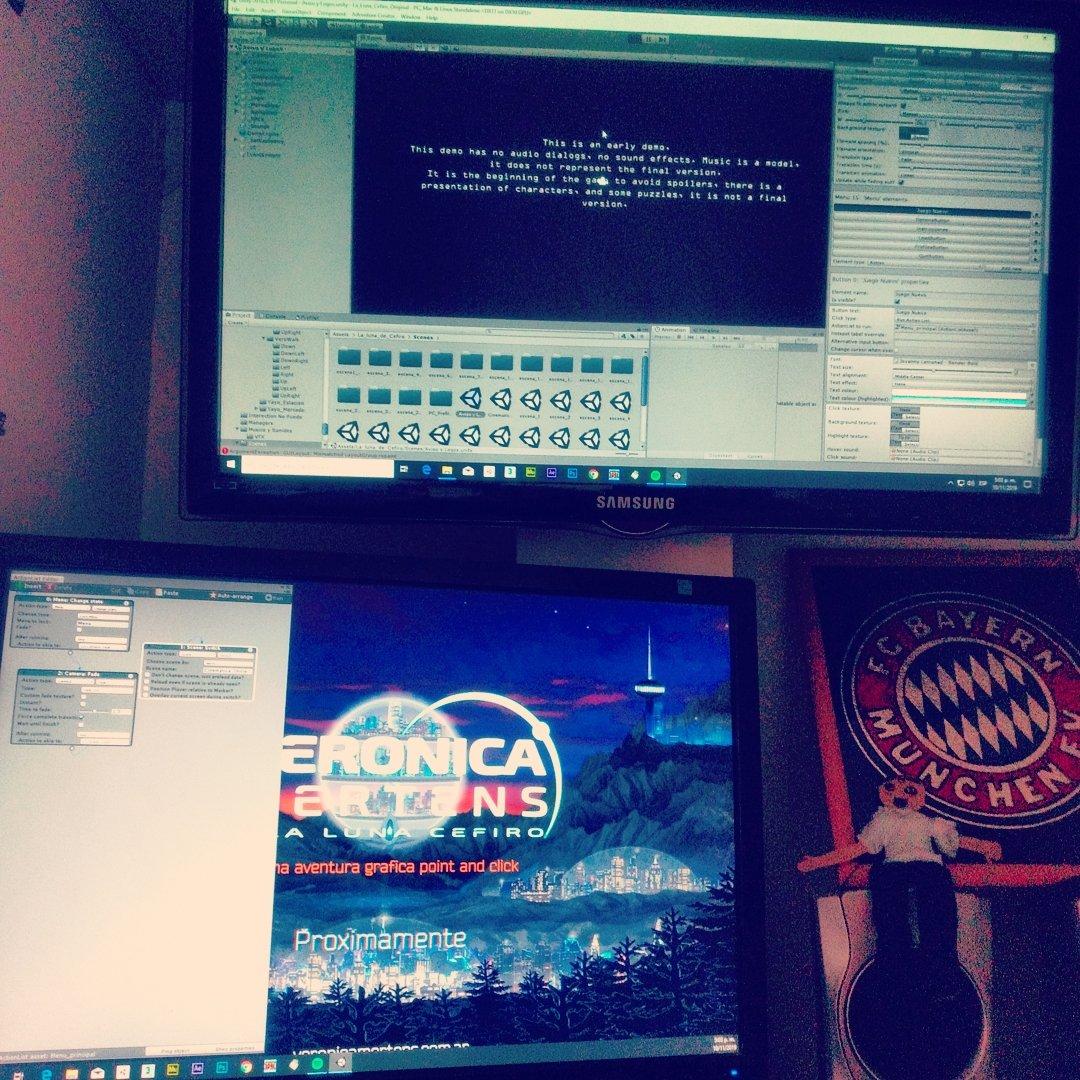 Working on the demo. @veronica_mertens #sunday #bayernmunich  #graphicadventure #pointandclick #pointandclickadventure #demo #test #gamingtest #indie #indiegame #screenshot #gamedev #indiedev #gaming #gamedesign #game #scifi #2d #indiegame #unity2d #workinprogresspic.twitter.com/8mSve2iGF0