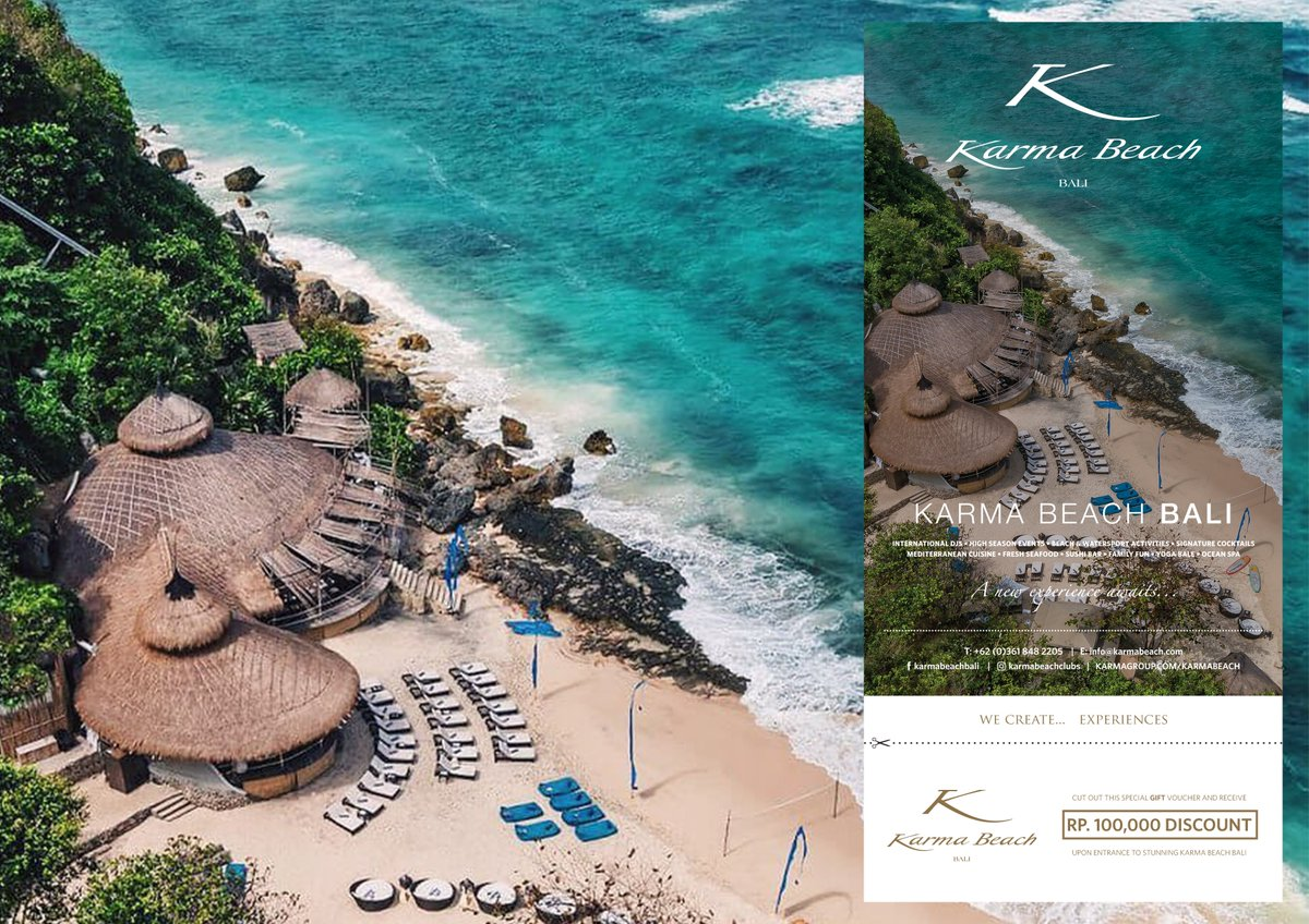 Karma Beach Bali  Cut Out This Special Gift Voucher and Receive  RP. 100,000 DISCOUNT  Upon Entrance to Stunning  Karma Beach Bali.   +62 361 8482205  info@karmabeach.com  #karmabeachbali #karmagroup #Balimap #freetouristinfomation #balibrochurecompany #advertisingmediainbalipic.twitter.com/SMfrOT3hA4