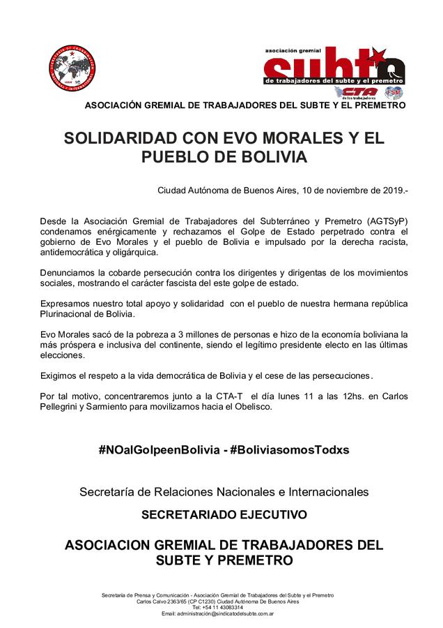 No al golpe en Bolivia