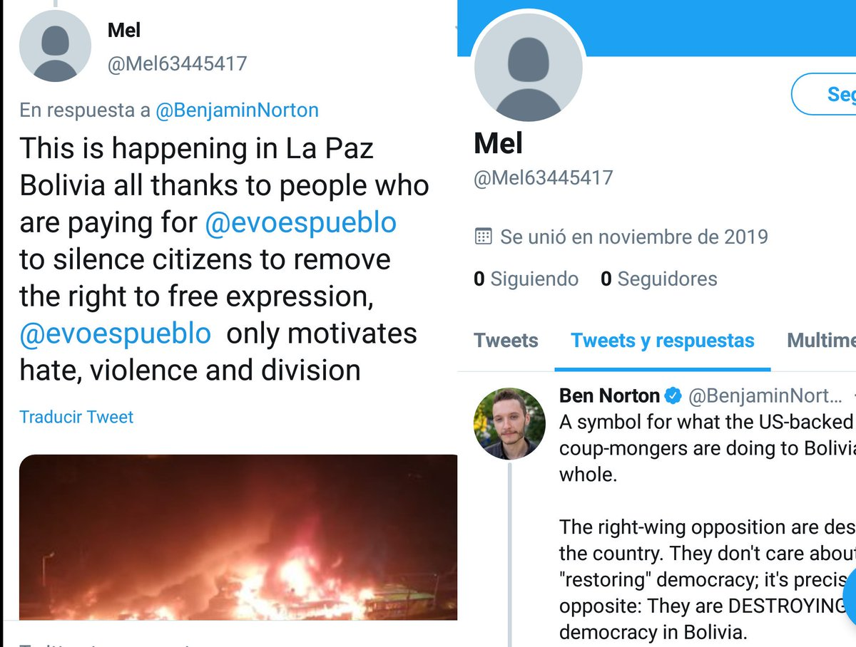 There are thousands of what are obviously bot accounts trolling anyone who tweets about the right-wing coup in Bolivia They are spreading propaganda in English, their account names are often @ namenumbers, and they were created in November Theres a big operation going on here