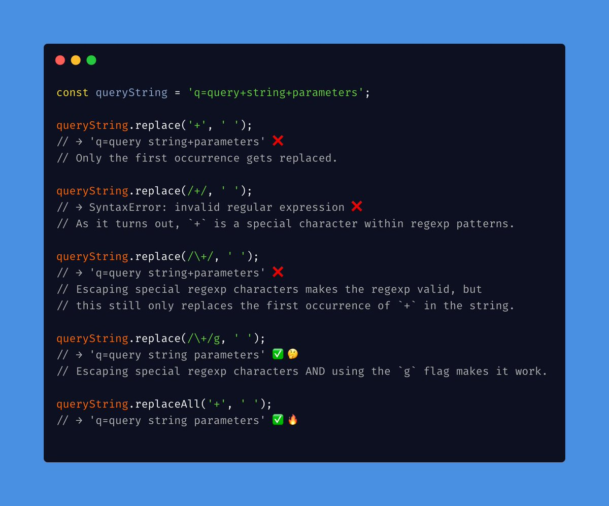 """Mathias Bynens on Twitter: """"Replacing all occurrences of a substring with  another string is a common operation. Unfortunately, doing this correctly  is surprisingly hard in JavaScript. 🤯 The new String.prototype.replaceAll  API is"""