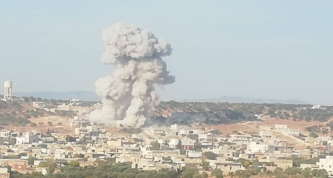 Russian warplanes bombarded the town of Maaret Haramah, south of Idlib