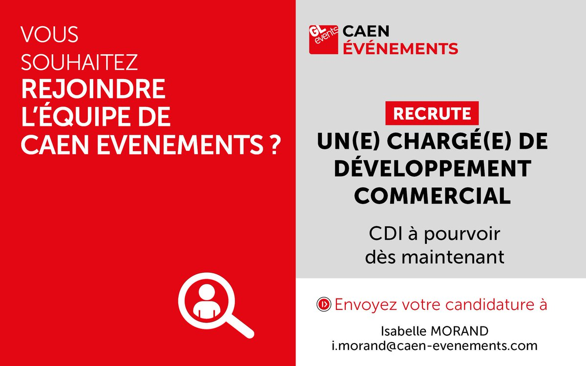 [RECRUTEMENT🤝] CAEN EVENEMENTS, gestionnaire du #ParcExpoCaen et du #CentredeCongrèsCaen, recrute un(e) chargé(e) du développement commercial Congrès/Séminaires et Salons. CV + LM à i.morand@caen-evenements.com + d'info : https://t.co/TrWuzGQ2RE https://t.co/BuTALC5vPz