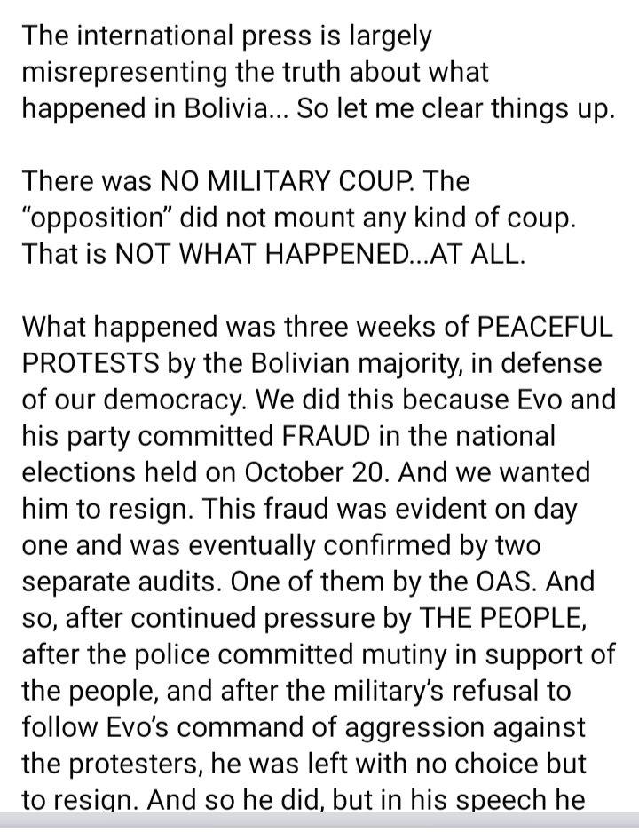 #itWasntACoupDEtat The truth in Bolivia, don't trust Morales. @fdelrincon @CNN #Bolivia #ConcluElexbol20 #cnn #bbc #bbcnews #fernandodelrincon #tvu #fraudeelectoralenbolivia #fraudeenbolivia #oea #onu #un #humanrights<br>http://pic.twitter.com/nkJ0P5EuVb