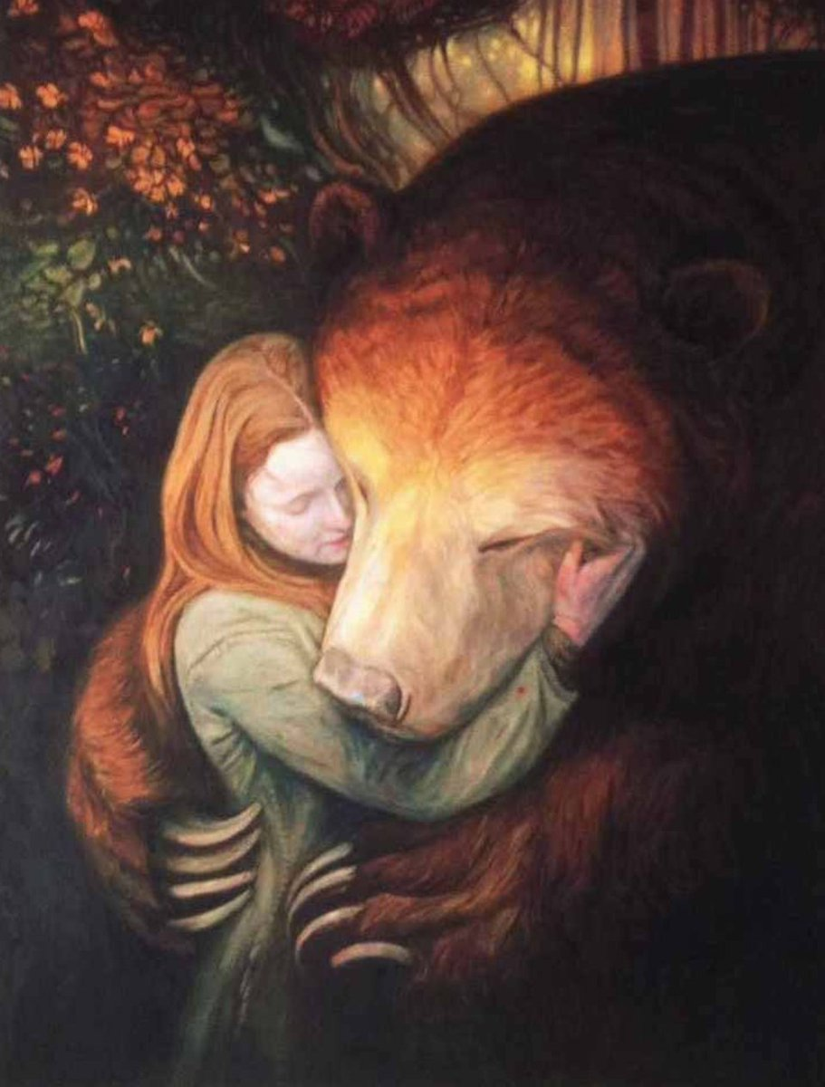 Once, an old bear found a girl weeping in a churchyard, close to his cottage. He took her home & tucked her up, & fed her cloudberries & plain cake & let her sleep for days & days under cold linen sheets & feather eiderdowns, & he didn't speak, not one word, unless she wanted to.