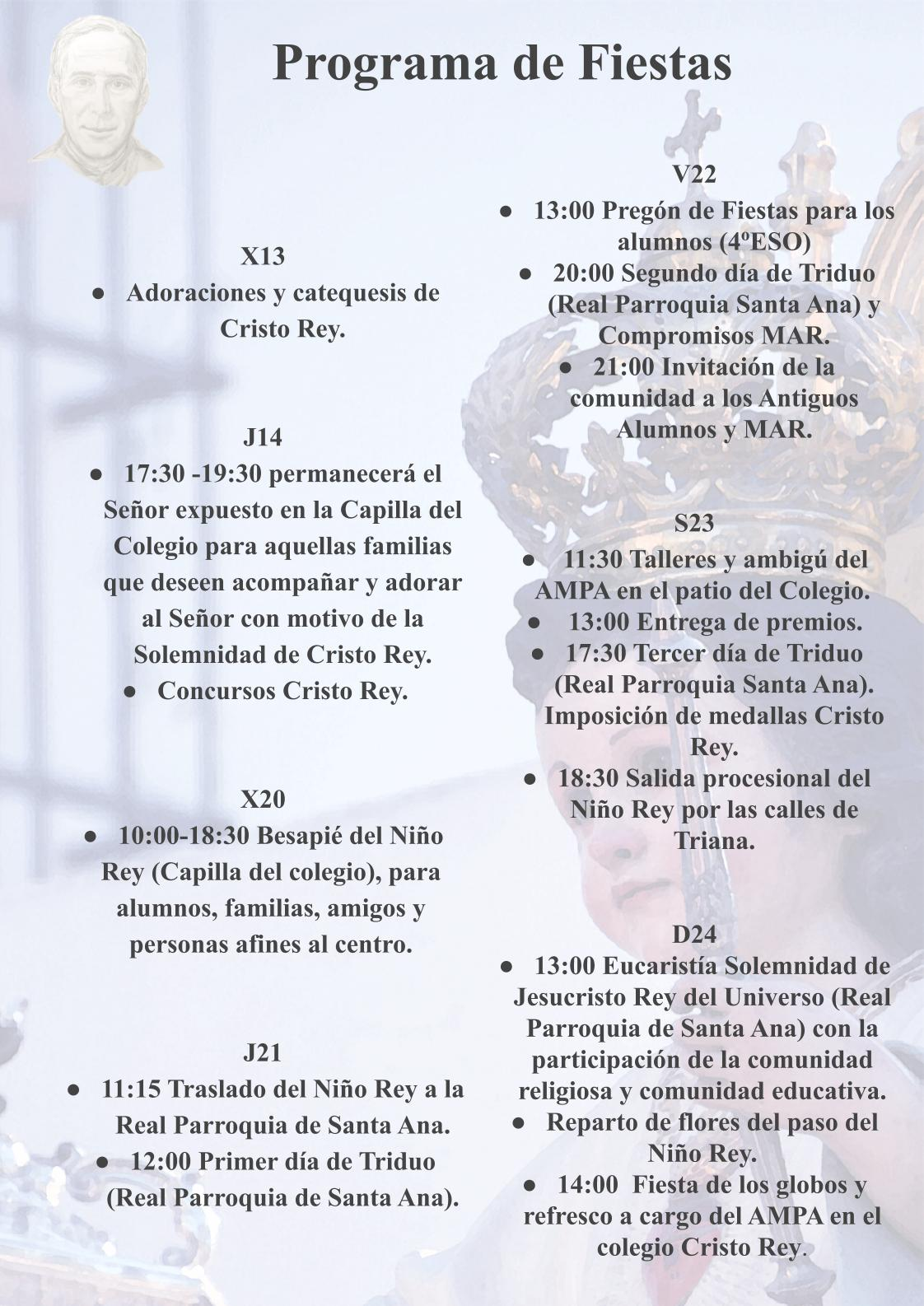 PROGRAMA DE FIESTA CRISTO REY SEVILLA 2019