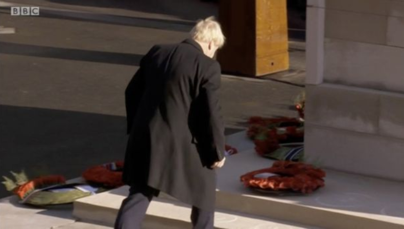 Slide One is Boris Johnson, yesterday, laying a wreath upside down on the Cenotaph Slide Two is the footage BBC News are rolling with this morning - bizarrely, its from 2016.