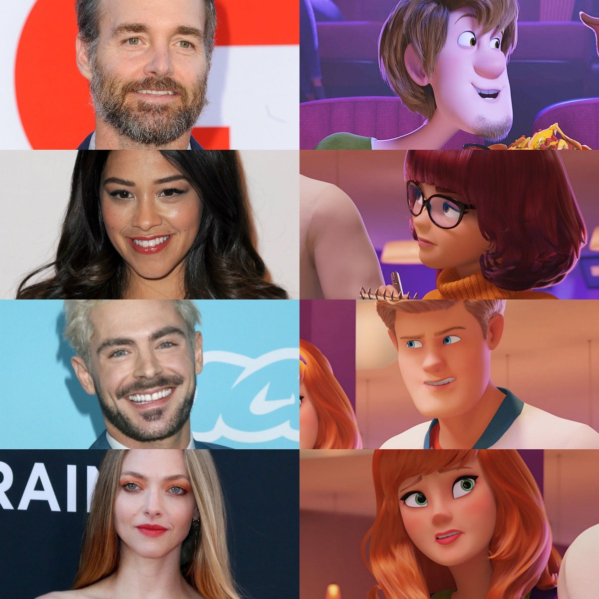 The voice actors of Mystery Inc. For upcoming #ScoobyDoo animated #movie :  Will forte - Shaggy Gina Rodriguez - Velme Zac Efron-Fred Amanda Seyfried - Daphne