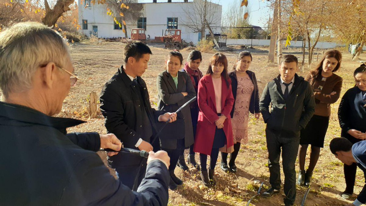 We have trained students & teachers from #Nukus State University to use #drip irrigation which helps to:   Increase crops  Use less water & fertilizers  Promote food security  Decrease risks  For more details: https://bit.ly/32xZq0Q   #ClimateActionNowpic.twitter.com/iz3UgOmRQp